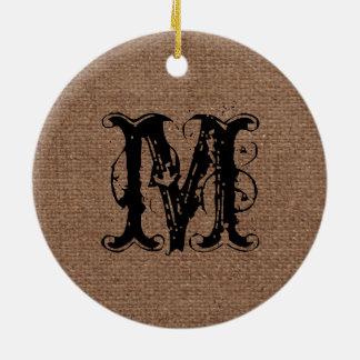 Monograma rústico del negro de la arpillera - moda adorno navideño redondo de cerámica