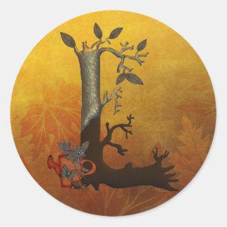 Monograma S del árbol del otoño Pegatina Redonda