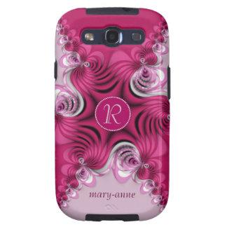 Monograma Samsung S3 de los remolinos del rosa del Galaxy S3 Carcasa