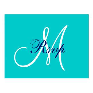 Monograma simple de los azules marinos del trullo postales