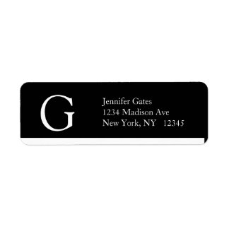 Monograma simple elegante G de las etiquetas de Etiqueta De Remitente