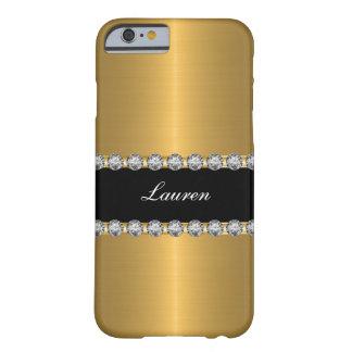 Monograma simulado glamoroso con clase de la joya funda para iPhone 6 barely there