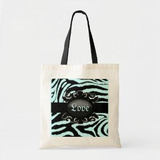 Monograma sofisticado del estampado de zebra bolsa de mano