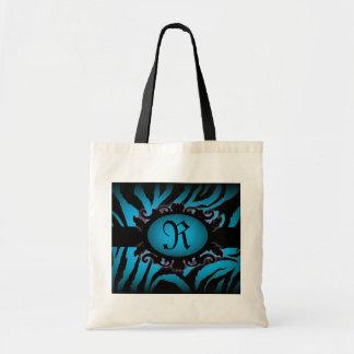 Monograma sofisticado del estampado de zebra de la bolsas lienzo