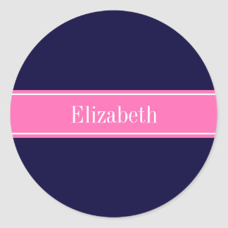 Monograma sólido del nombre de la cinta de las pegatina redonda