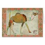 Monograma soñador Notecard del camello Tarjeton