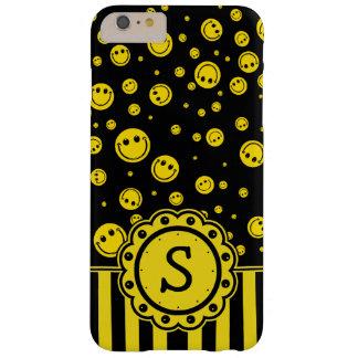 Monograma sonriente de PolkaDot Funda Barely There iPhone 6 Plus