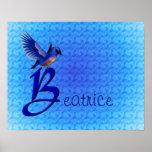 Monograma su poster conocido del Bluebird de la in