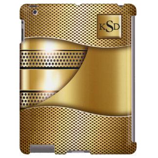 Monograma suave de la malla del oro II Funda Para iPad