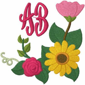 Monograma subió girasol sudadera bordada con serigrafia