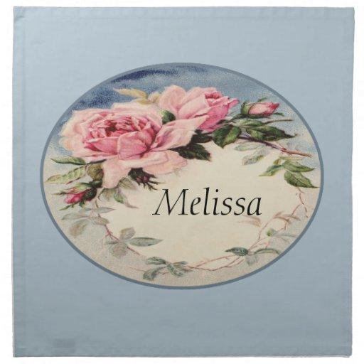 Monograma subió vintage rosado polvoriento de la servilletas de papel