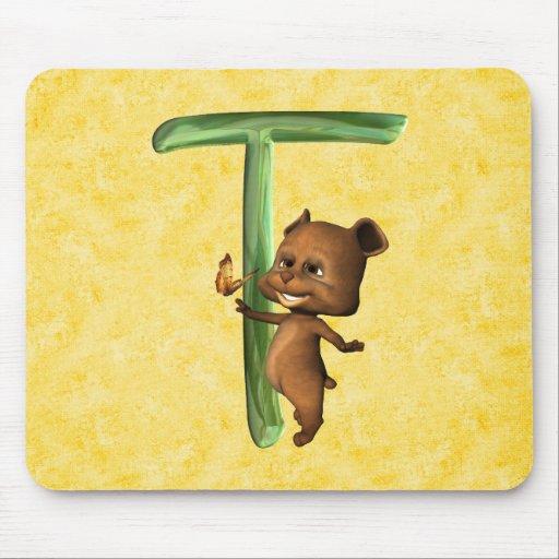Monograma T de BabyBear Toon Alfombrillas De Raton