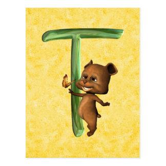 Monograma T de BabyBear Toon Postal