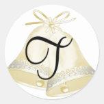 Monograma T de Belces de boda Pegatinas Redondas