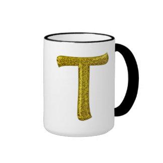 Monograma T del brillo del oro Taza A Dos Colores