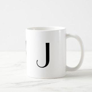 Monograma taza moderna negra y blanca de J inicial