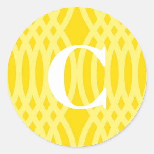 Monograma tejido adornado - letra C Etiqueta