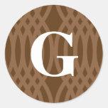 Monograma tejido adornado - letra G Pegatina Redonda