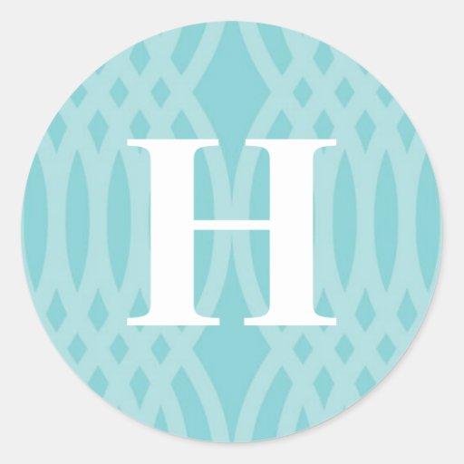 Monograma tejido adornado - letra H Pegatina Redonda