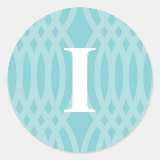Monograma tejido adornado - letra I Pegatina Redonda