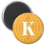 Monograma tejido adornado - letra K Imanes De Nevera