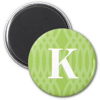 Monograma tejido adornado - letra K Imán Redondo 5 Cm