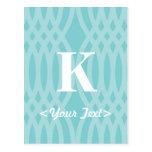 Monograma tejido adornado - letra K Tarjeta Postal