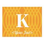 Monograma tejido adornado - letra K Tarjetas Postales