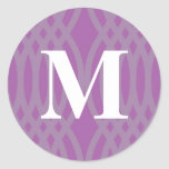 Monograma tejido adornado - letra M Etiqueta Redonda
