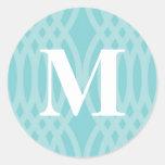 Monograma tejido adornado - letra M Pegatinas Redondas