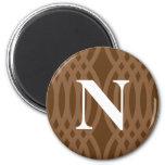 Monograma tejido adornado - letra N Iman De Nevera