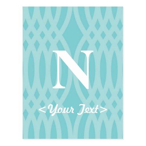Monograma tejido adornado - letra N Postal