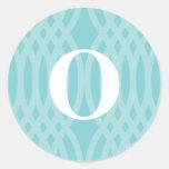 Monograma tejido adornado - letra O Pegatina Redonda