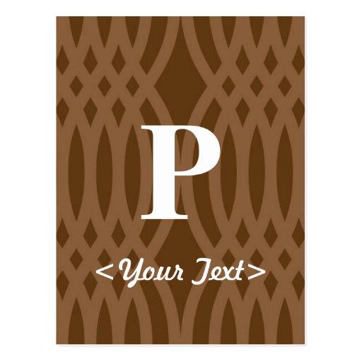 Monograma tejido adornado - letra P Postal