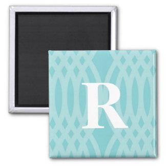 Monograma tejido adornado - letra R Imán Cuadrado