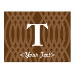 Monograma tejido adornado - letra T Postal