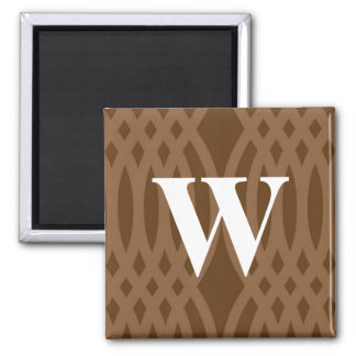 Monograma tejido adornado - letra W Imán Cuadrado