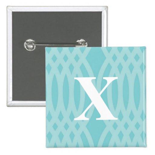Monograma tejido adornado - letra X Pin Cuadrada 5 Cm