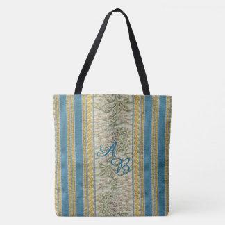 Monograma tejido francés del personalizado de la bolsa de tela