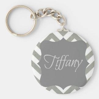 Monograma Tiffany Chevron Llavero Redondo Tipo Pin