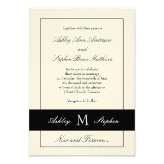 Monograma tradicional negro de la invitación el | invitación 12,7 x 17,8 cm