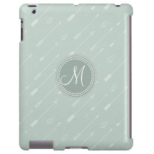 Monograma tribal de la verde menta de la flecha funda para iPad