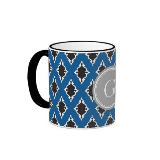 Monograma tribal del modelo del ikat moderno del n tazas de café