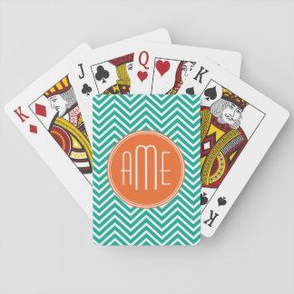 Monograma triple de encargo de los galones barajas de cartas
