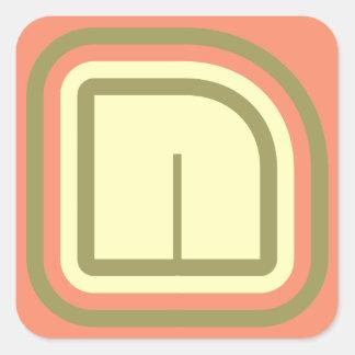 Monograma ultra moderno N del arte del deco en 3 Pegatina Cuadrada