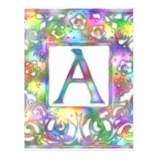 Monograma un brillante y colorido postal