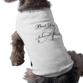 Monograma un gris y un blanco de la camisa del per playera sin mangas para perro