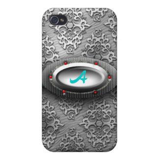 Monograma una caja de la mota de Iphone 4/4S del d iPhone 4/4S Fundas