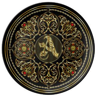 Monograma una visión importante sobre diseño plato de cerámica