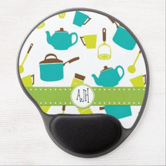 Monograma - utensilios de la cocina, Cookware, Alfombrillas De Raton Con Gel